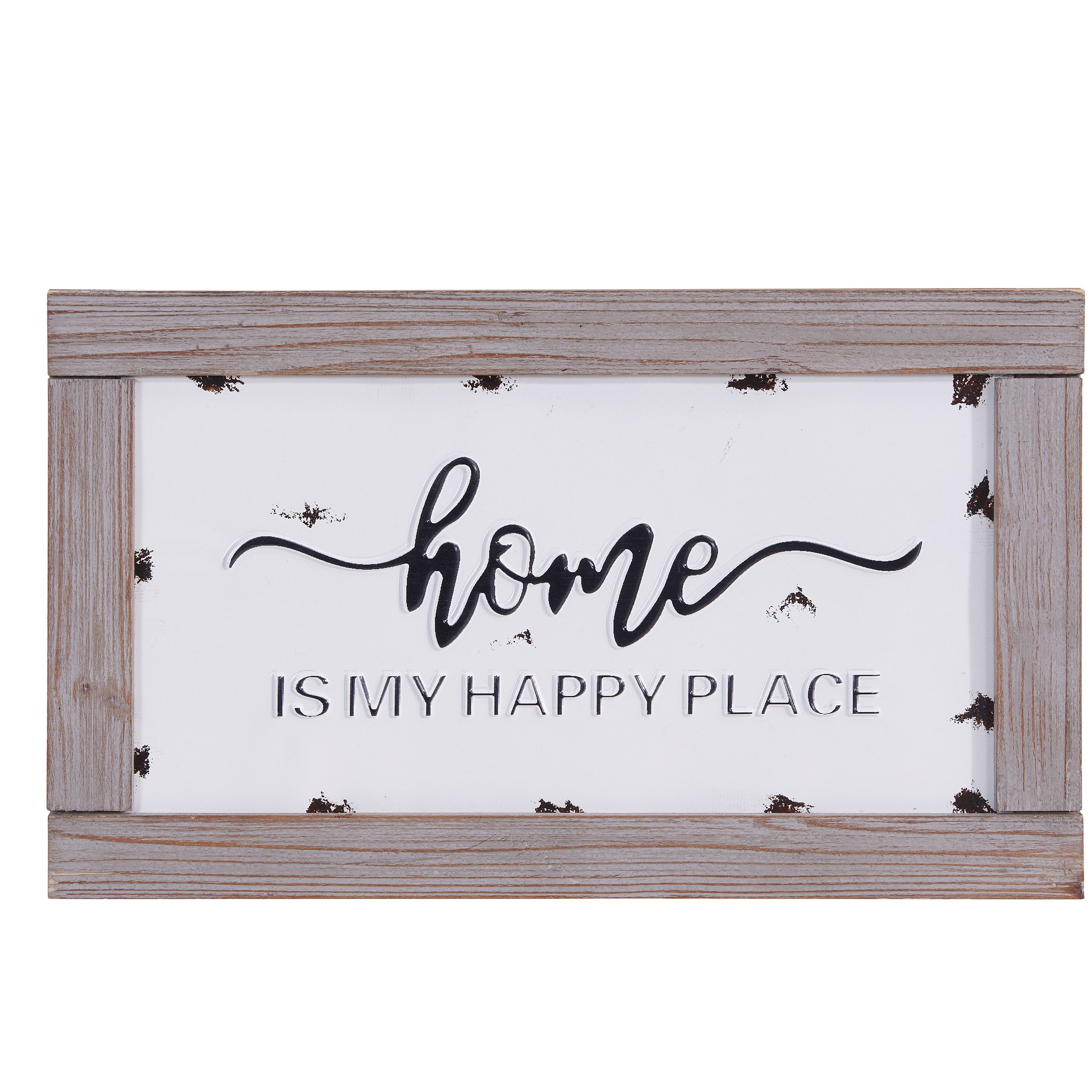 Newest Home Is My Happy Place Metal In Wooden Frame Wall Decor For Personalized Mint Distressed Vintage Look Laundry Metal Sign Wall Decor (Gallery 3 of 20)