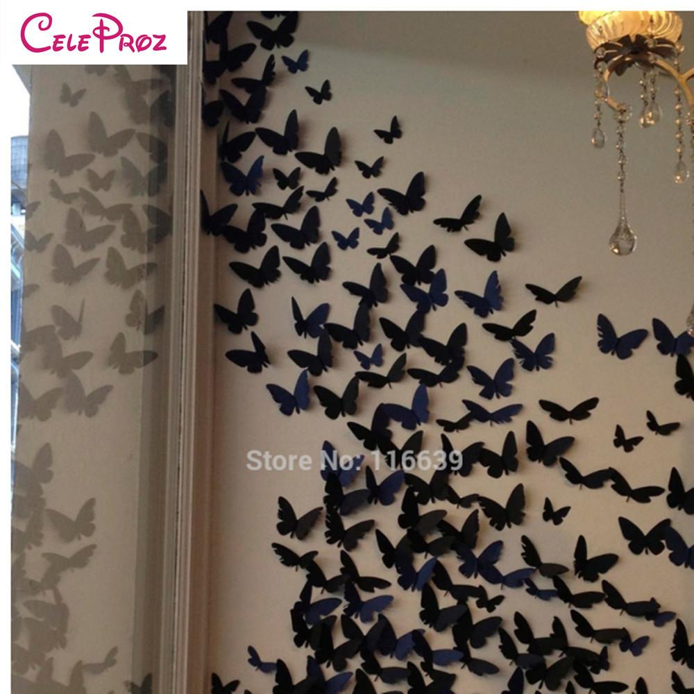 Newest Ila Metal Butterfly Wall Decor Within 3D Paper Butterfly Wall Sticker Decor Butterflies Art Decal Stickers (Gallery 13 of 20)