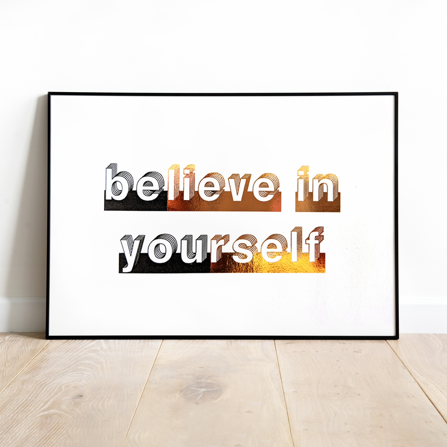 Newest Rectangle Like Yourself Inspirational Typography Wall Plaque With Regard To Believe In Yourself, Foil Wall Art, Typography Print, Gift For Her (Gallery 13 of 20)