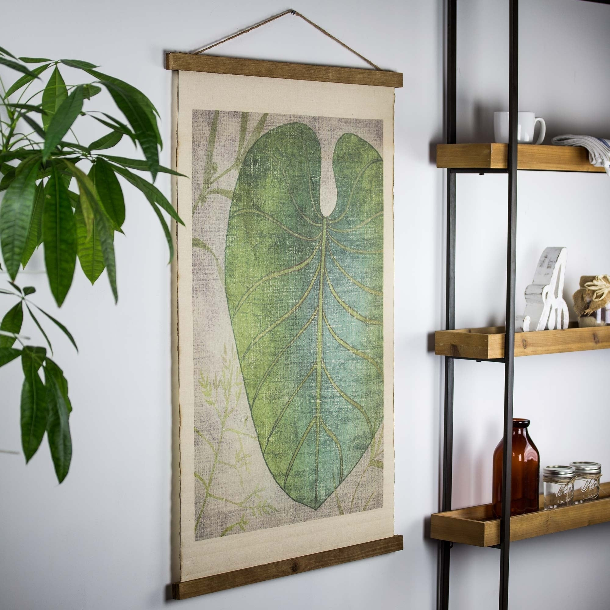 Newest Shop American Art Decor Leaf Wall Scroll Tapestry With Rope – Free Throughout Scroll Leaf Wall Decor (Gallery 8 of 20)