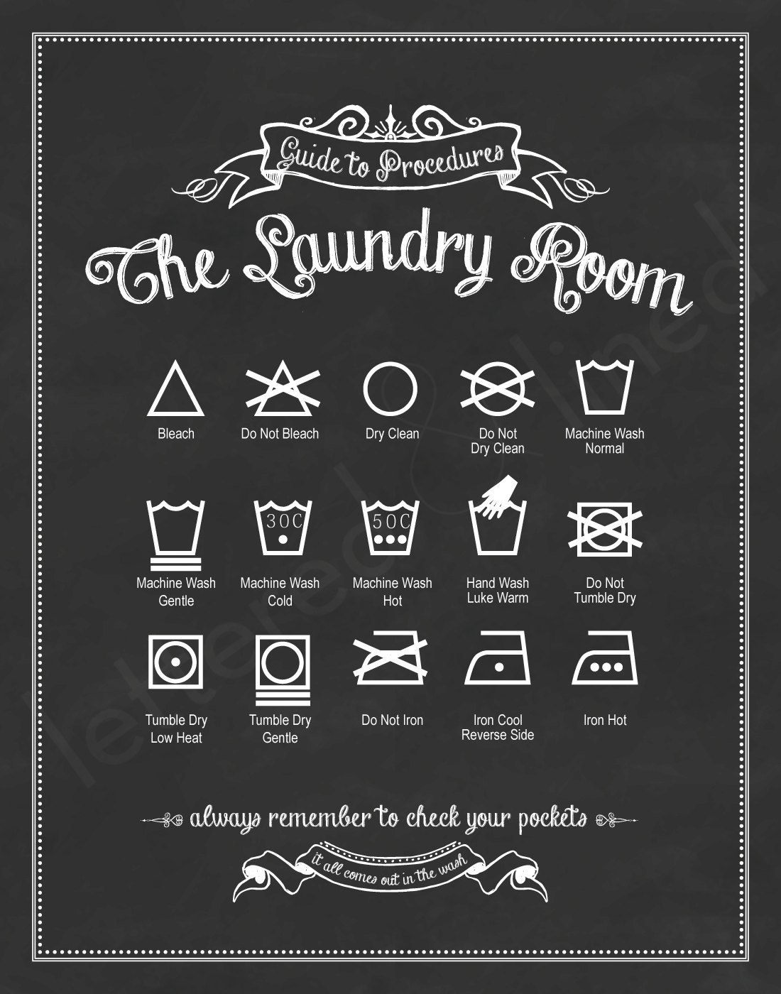 Original Guide To Procedures: The Laundry Room Print – 56 Colors Intended For Widely Used Personalized Mint Distressed Vintage Look Laundry Metal Sign Wall Decor (Gallery 18 of 20)