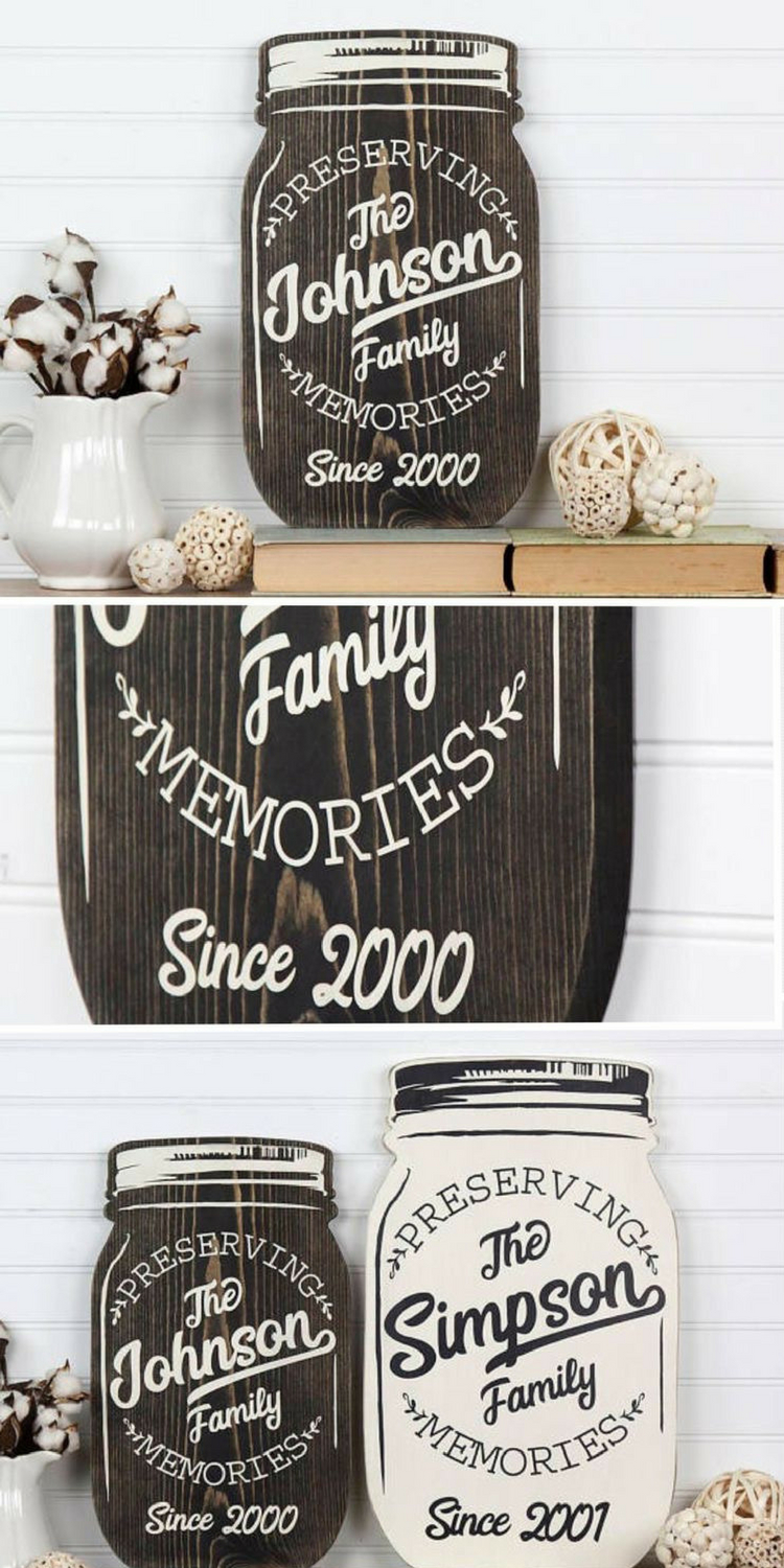 Personalized Mason Jar Shape Wood Cutout Sign Wall Art (View 9 of 20)