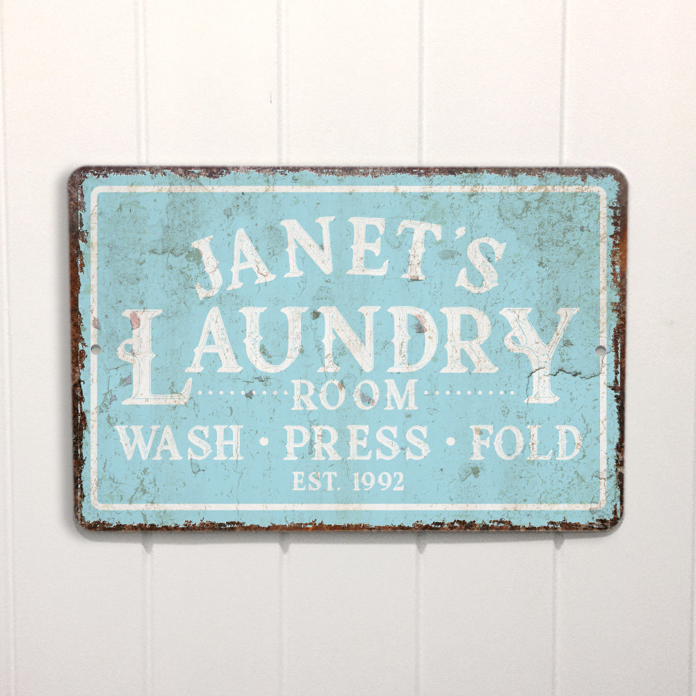 Featured Photo of Personalized Mint Distressed Vintage Look Laundry Metal Sign Wall Decor