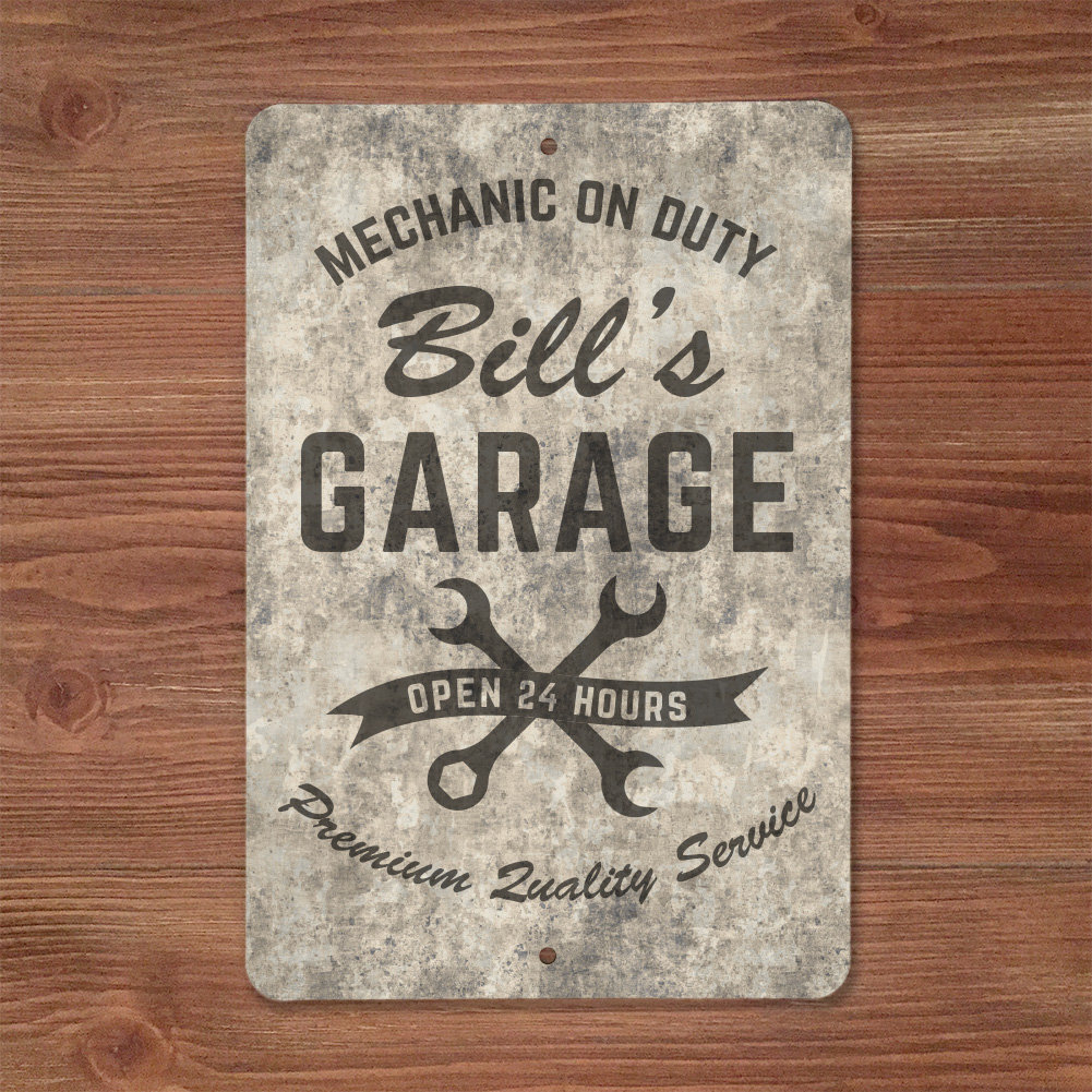 Personalized Sandstone Look Mechanic On Duty Garage Metal Sign Wall Décor Regarding Trendy Personalized Mint Distressed Vintage Look Laundry Metal Sign Wall Decor (Gallery 5 of 20)
