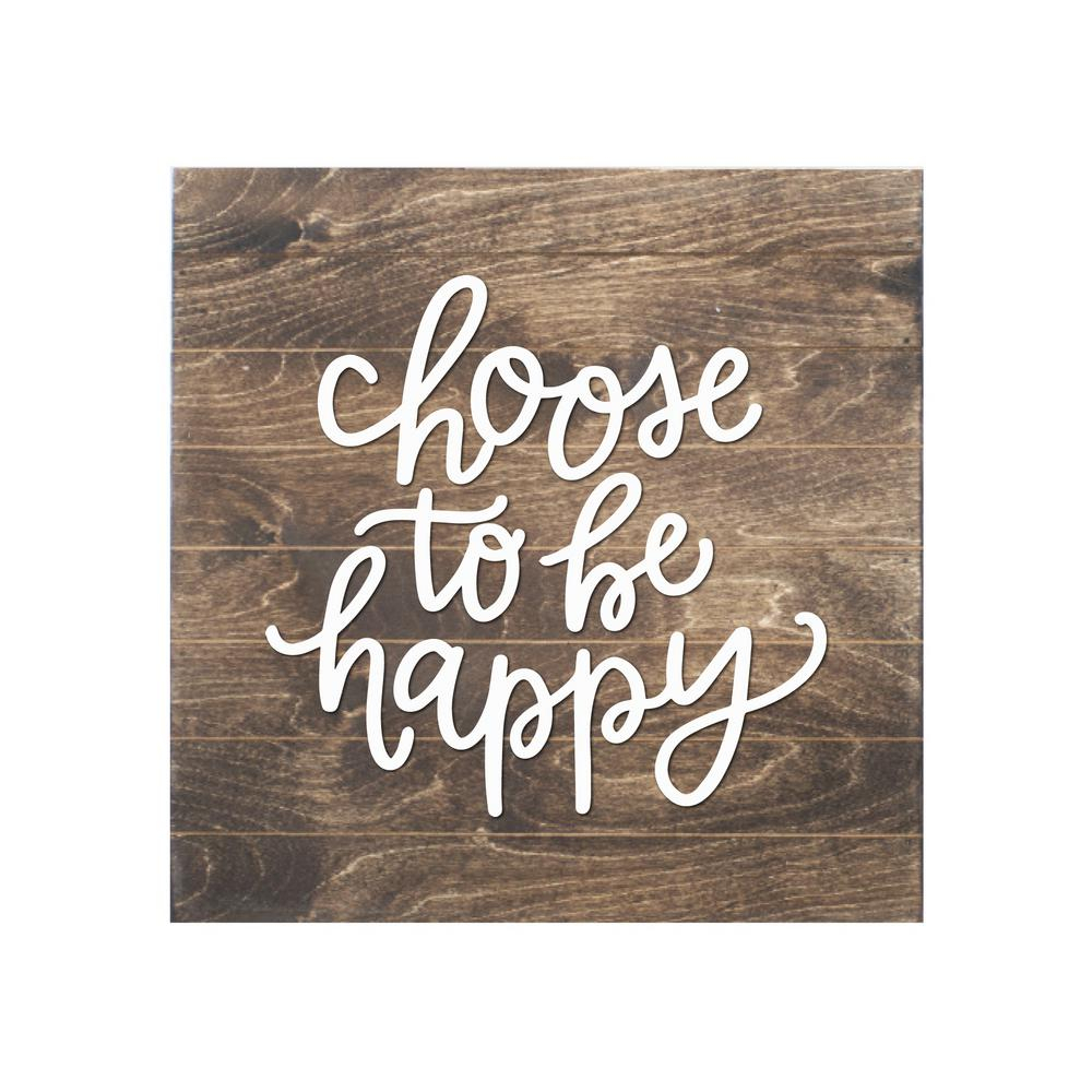 Petal Lane Choose To Be Happy Wood Slat Board, Brown, White Letters With Popular Choose Happy Wood Wall Decor (View 15 of 20)