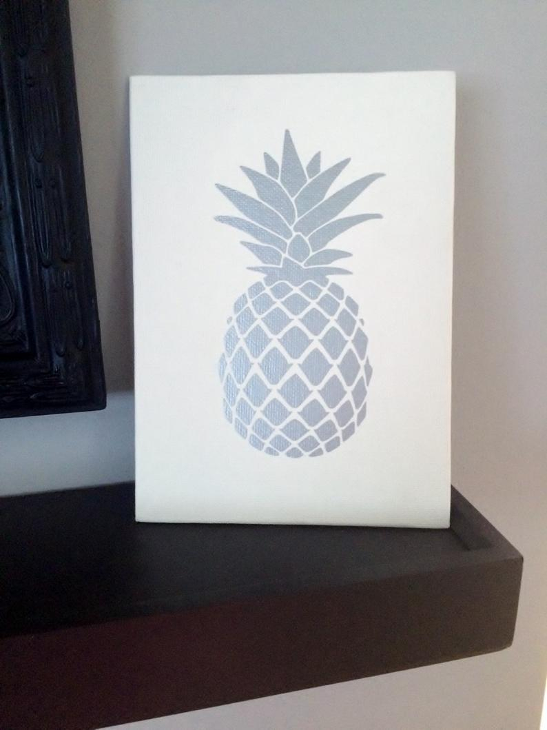 Pineapple Wall Decor With Regard To Widely Used Silver Pineapple Wall Art Pineapple Sign Pineapple Decor (View 13 of 20)