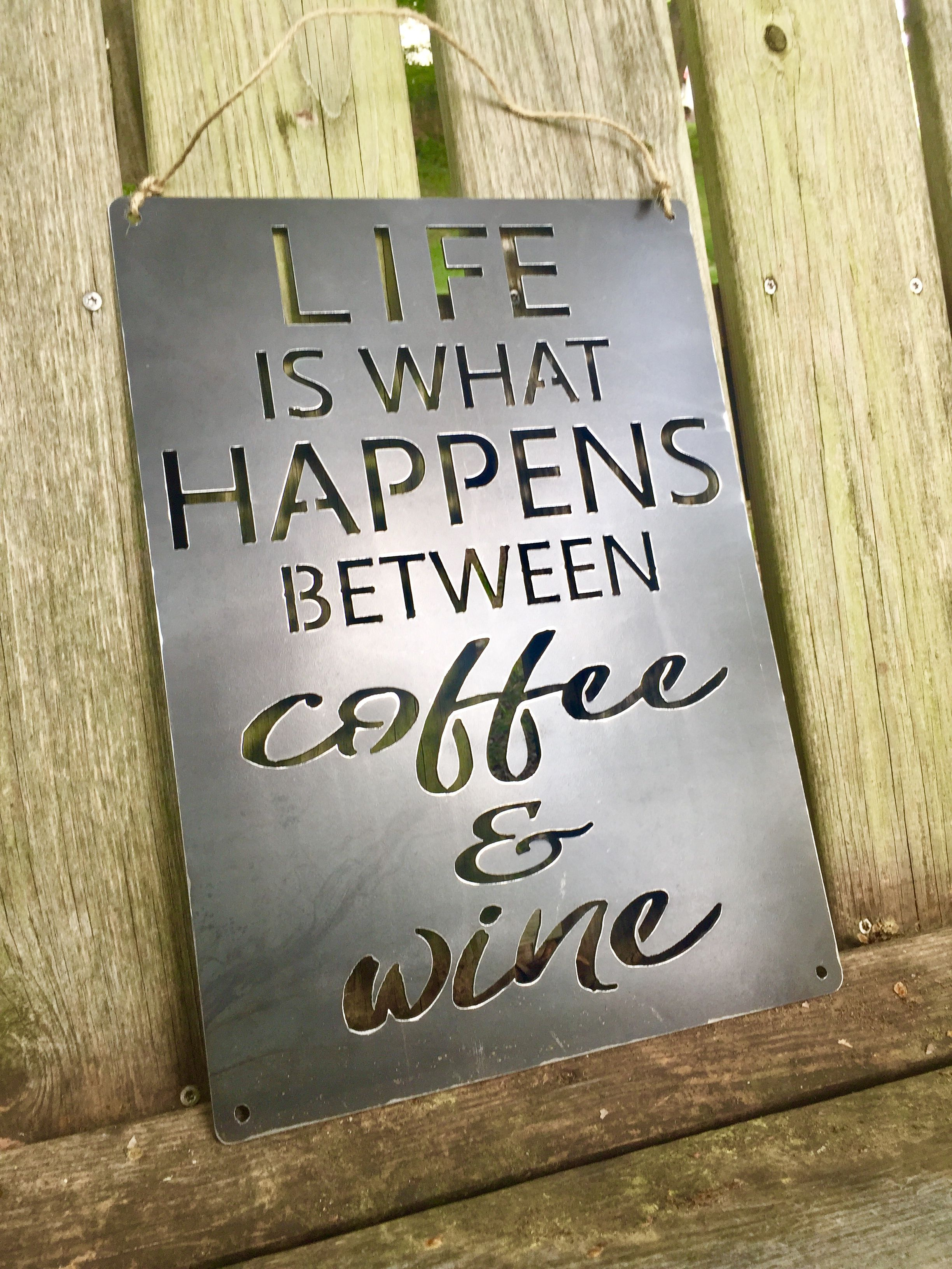 Plasma Cut Metal Sign, Metal Art For Wine Bar, Wine Sign, Kitchen inside Newest Coffee Sign With Rebar Wall Decor