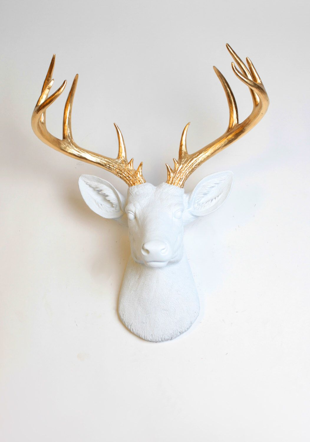 Popular Large Deer Head Faux Taxidermy Wall Decor Pertaining To Deer Head Wall Mount Decor – The Xl Alfred – White And Gold Deer (Gallery 7 of 20)