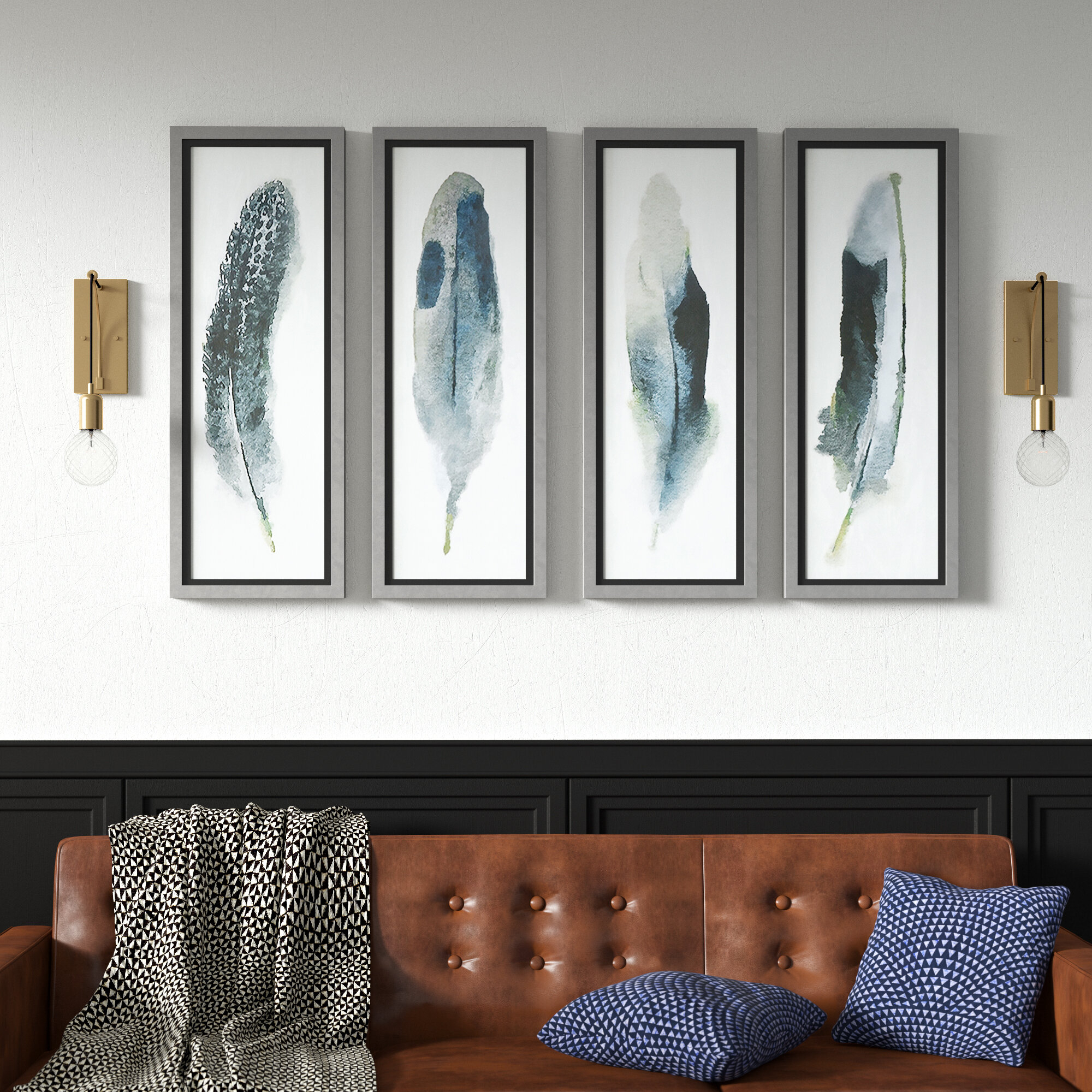 Popular Mercury Row 'feathered Beauty Prints' 4 Piece Framed Graphic Art Set Within 4 Piece Wall Decor Sets By Charlton Home (View 12 of 20)