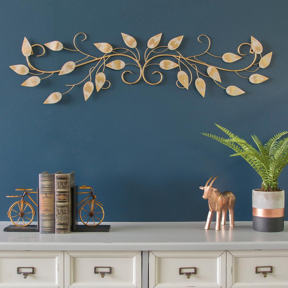 Popular Scroll Leaf Wall Decor intended for Stratton Home Decor Brushed Gold Over The Door Metal Scroll Wall
