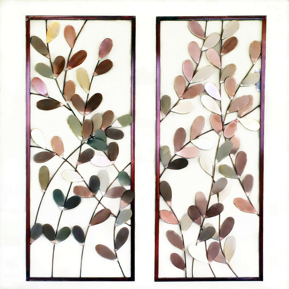Popular Tree Shell Leaves Sculpture Wall Decor With Regard To Pair Of Metal Wall Art Framed Wall Sculpture/ Wall Decor Leaves Tree (View 3 of 20)
