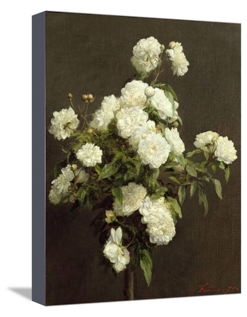 Popular White Roses, 1870 Stretched Canvas Print Wall Arthenri Fantin Regarding Latour Wall Decor (View 20 of 20)