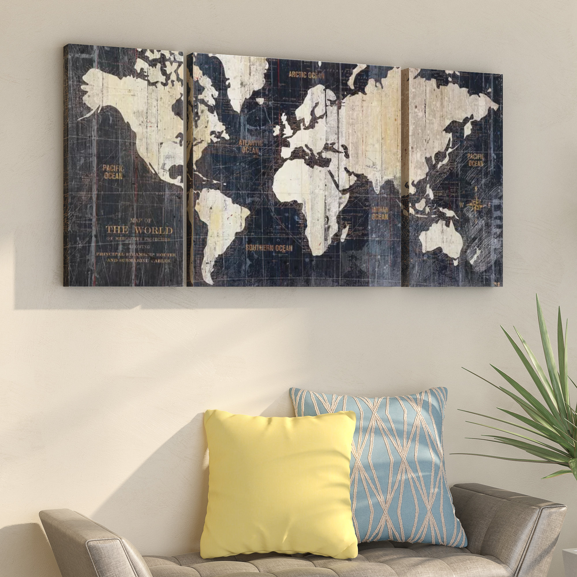 Popular Wrought Studio 'old World Map Blue' Framed Graphic Art Print On Within 3 Piece Wall Decor Sets By Wrought Studio (View 9 of 20)