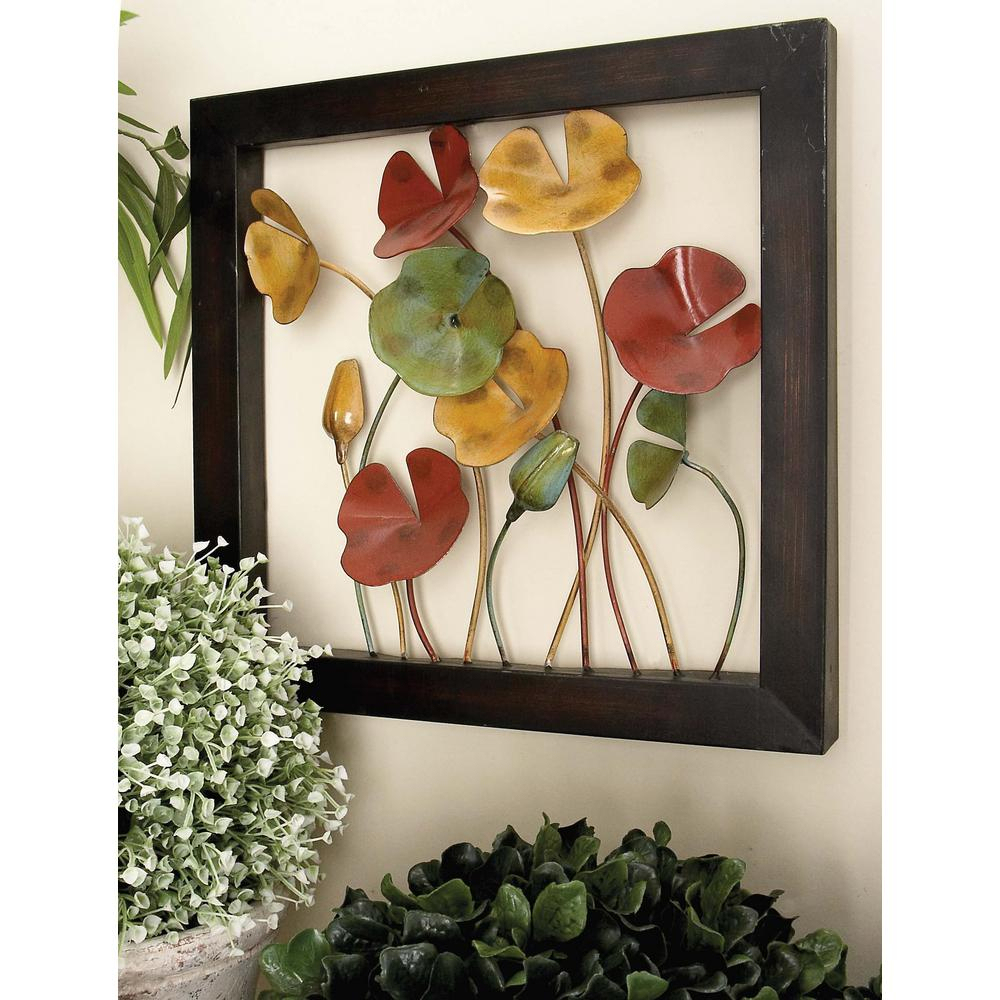 Preferred Metal Wall Decor (set Of 4) With Regard To Litton Lane 4 Piece New Traditional Poppy Flower With Copper Stems (View 18 of 20)
