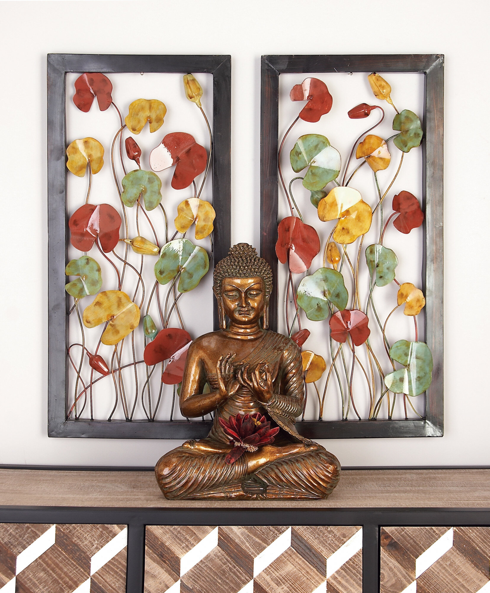 Raheem Flowers Metal Wall Decor By Alcott Hill For Preferred Red Barrel Studio Floral Metal Wall Décor Set & Reviews (View 8 of 20)
