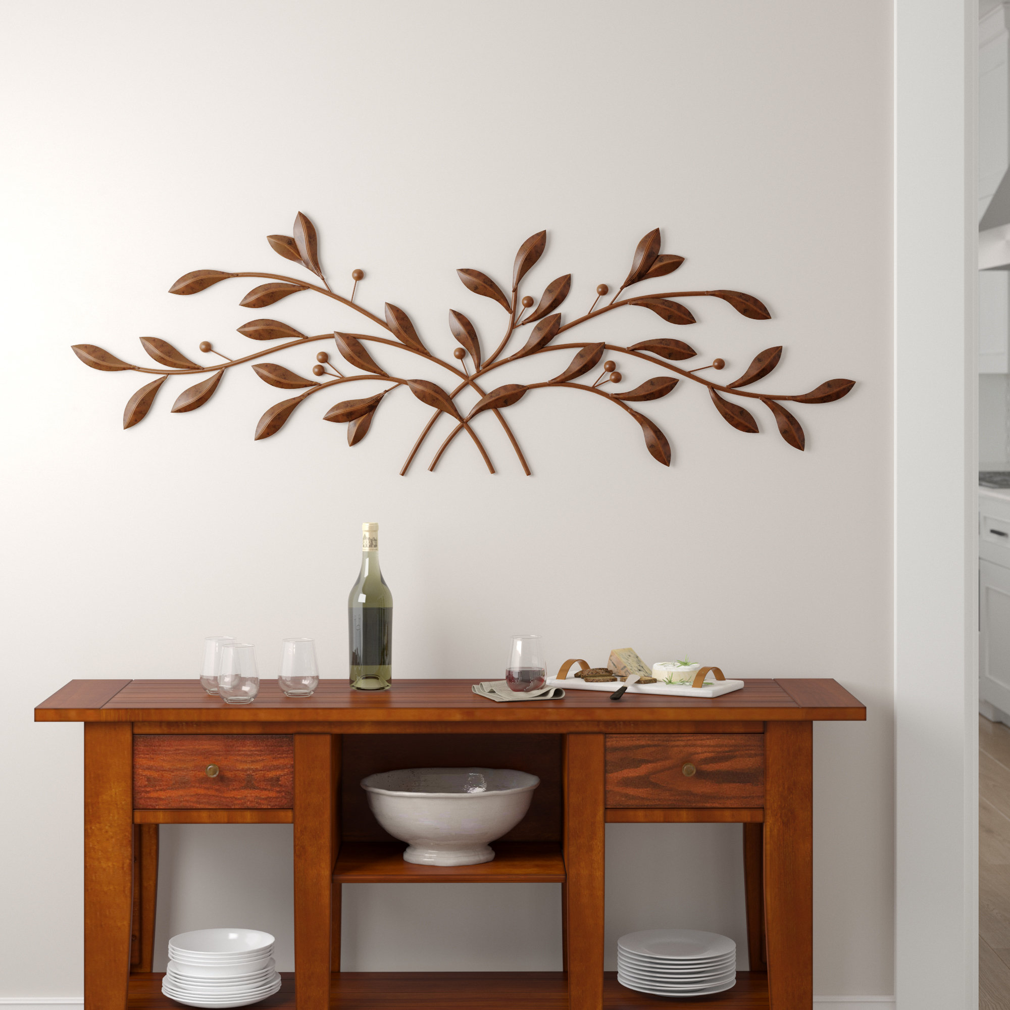 Raheem Flowers Metal Wall Decor By Alcott Hill With Famous Red Barrel Studio Metal Leaf With Berries Wall Décor & Reviews (View 11 of 20)