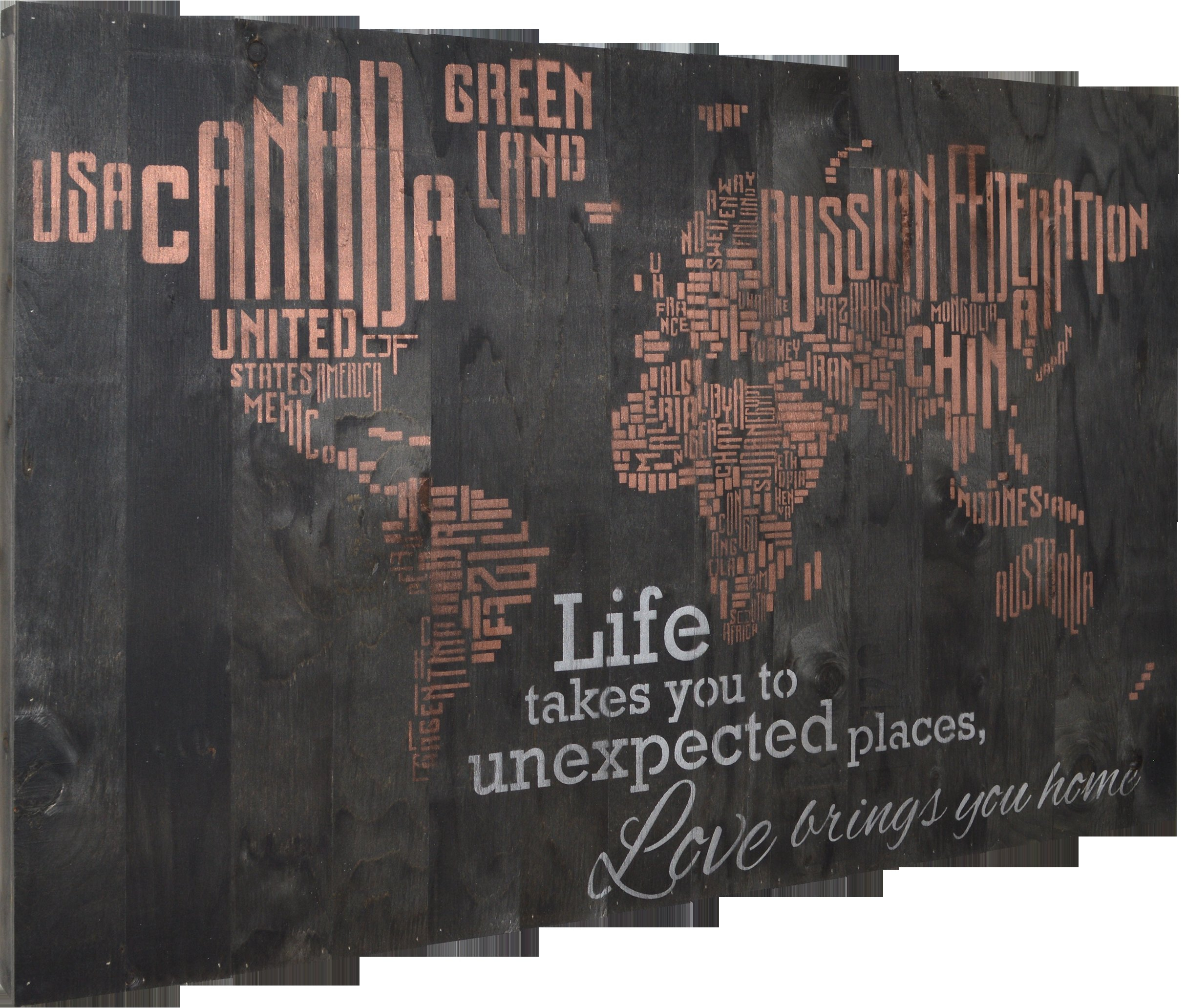 """Recent Firesidehome In A Word World Map – Life Takes You To Unexpected With Regard To In A Word """"welcome"""" Wall Decor By Fireside Home (Gallery 6 of 20)"""