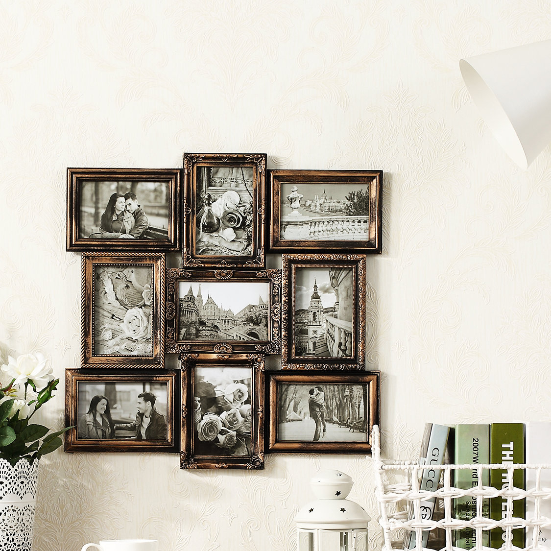 Recent Michael Wall Hanging 9 Opening Photo Sockets Picture Frame & Reviews For Millanocket Metal Wheel Photo Holder Wall Decor (View 5 of 20)