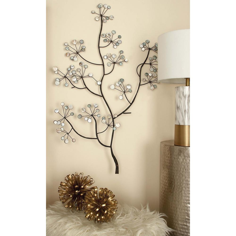 Recent Tree Shell Leaves Sculpture Wall Decor With Litton Lane 43 In. X 30 In. Iron And Arcylic Tree Branch Wall Decor (Gallery 4 of 20)
