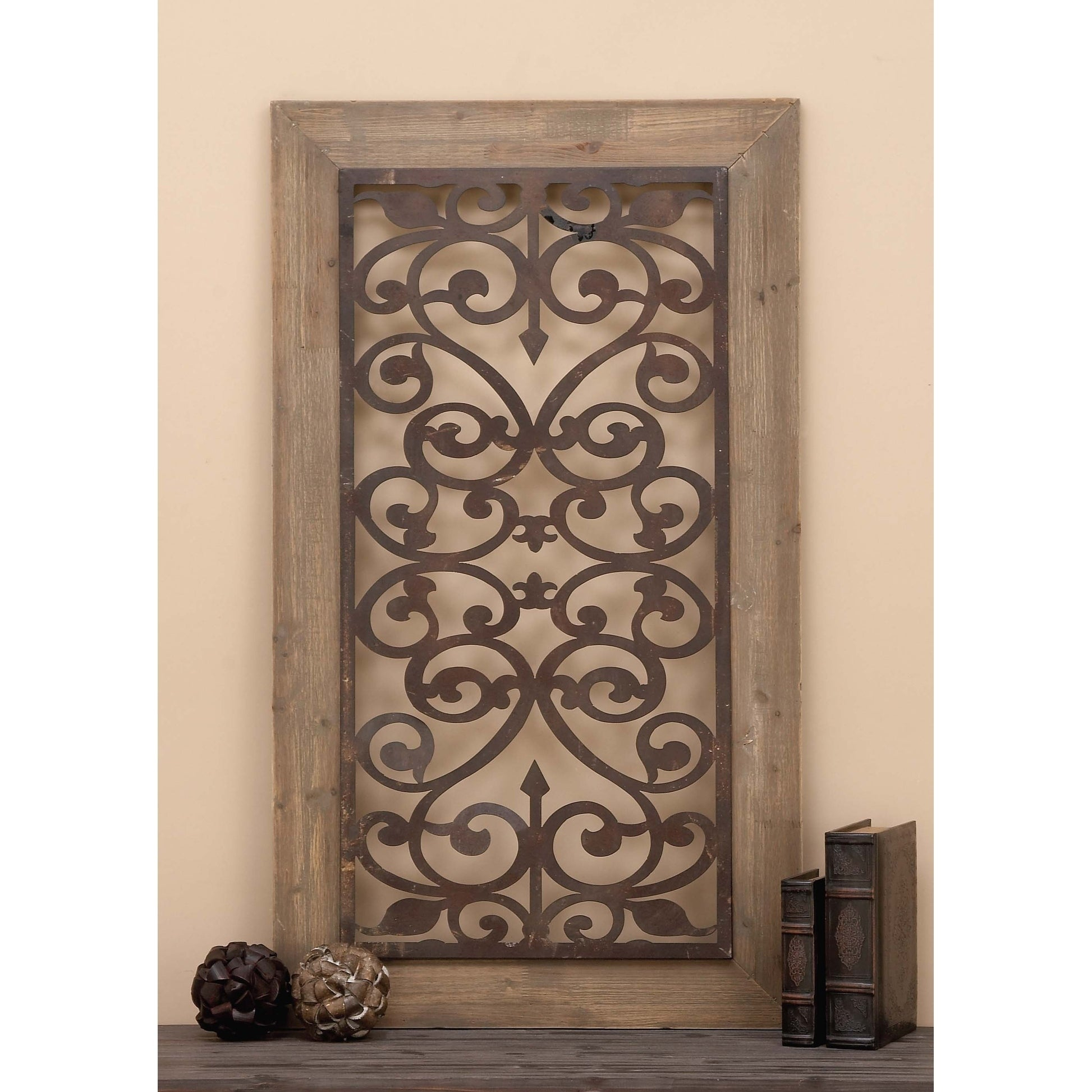 "Rings Wall Decor By Wrought Studio Throughout Popular Shop 26"" X 46"" Distressed Wood & Brown Metal Wall Art Panel W (View 13 of 20)"
