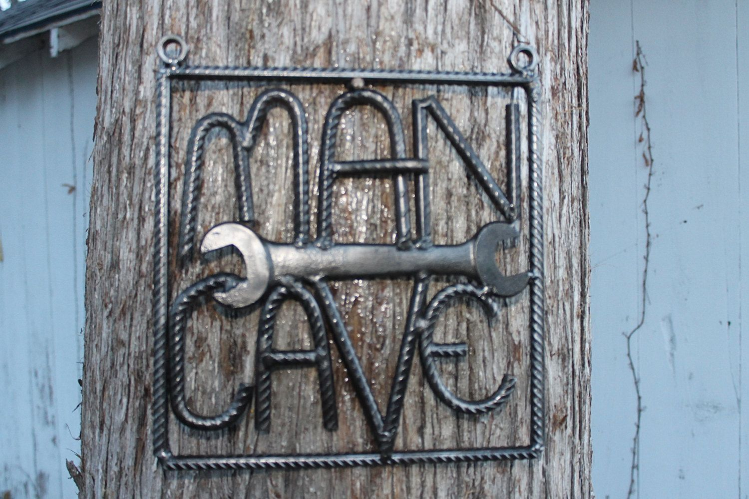 Salvaged Rebar Man Cave Sign, Rebar Art, Gift For Him, Welded Throughout Popular Coffee Sign With Rebar Wall Decor (Gallery 2 of 20)