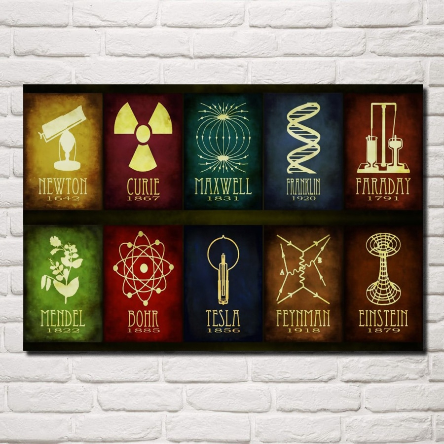 Science Abstract Artwork Scientist Birth Year Archievement Qr62 Room Throughout Newest Maxwell Wood And Metal Wall Decor (View 16 of 20)