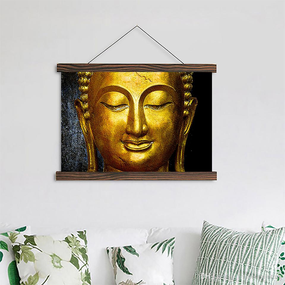 Scroll Framed Wall Decor For Most Current 2019 Scroll Canvas Paintings Gold Buddha Posters Hd Prints Wooden (Gallery 14 of 20)