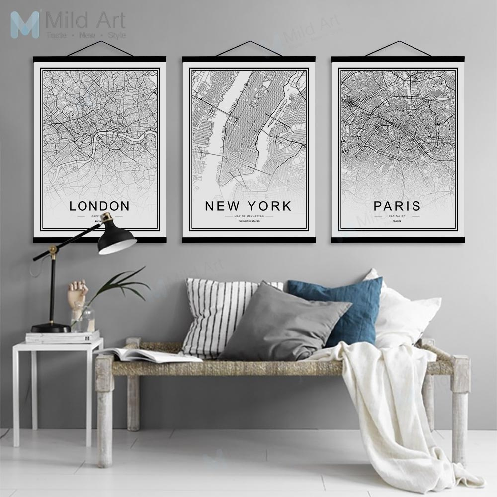 Scroll Framed Wall Decor Pertaining To Preferred Black White Moscow Paris Berlin World City Map Wooden Framed Posters (Gallery 2 of 20)
