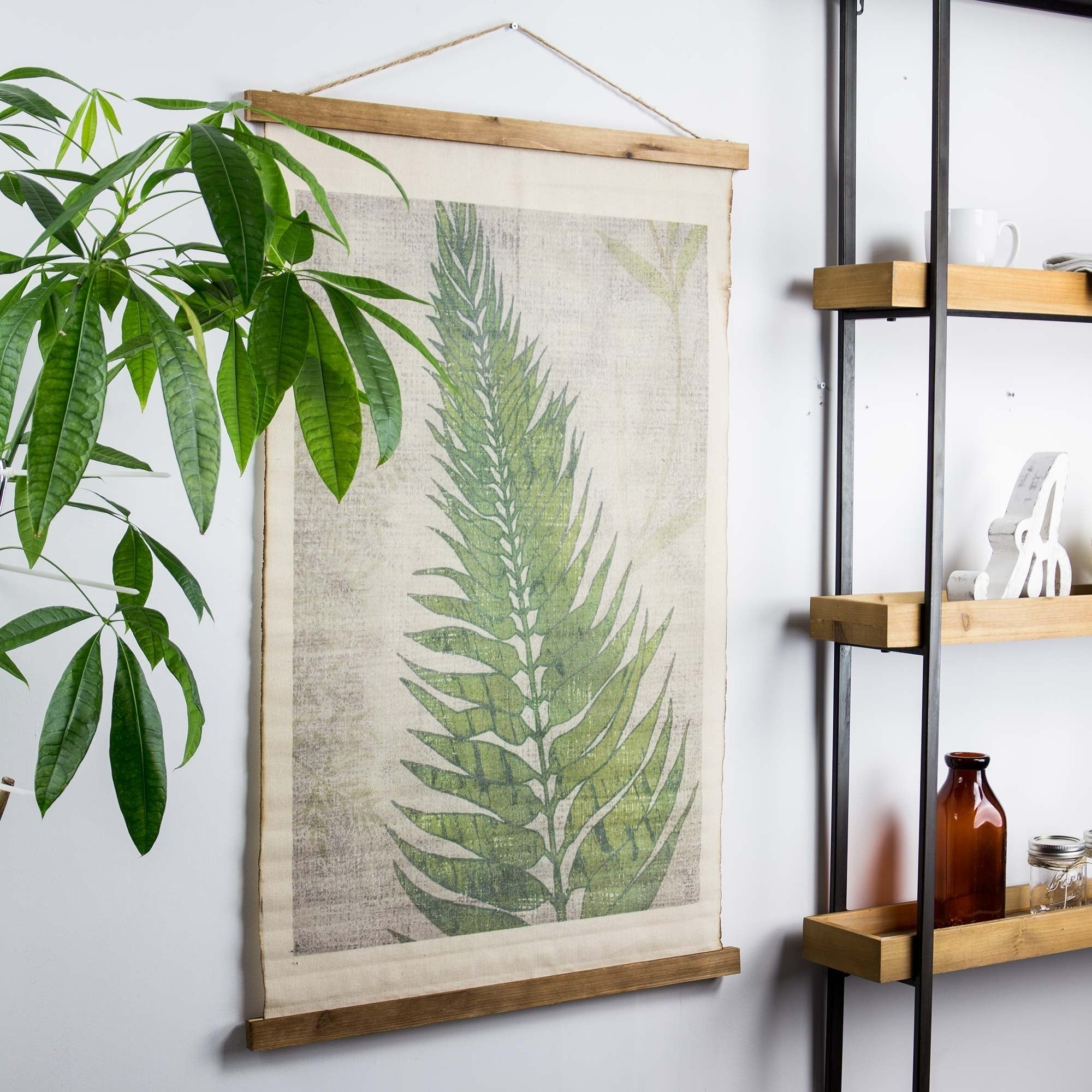 Scroll Leaf Wall Decor In Current Shop American Art Decor Fern Leaf Wall Scroll Tapestry With Rope (Gallery 10 of 20)