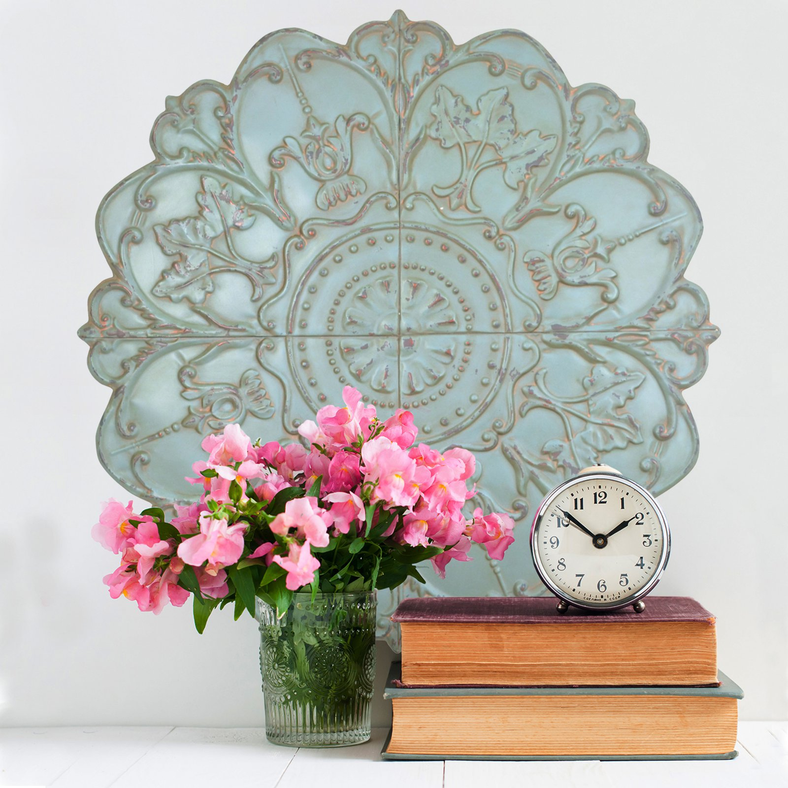 Shabby Medallion Wall Decor Throughout Trendy Stratton Home Decor Shabby Medallion Wall Decor – Walmart (Gallery 3 of 20)