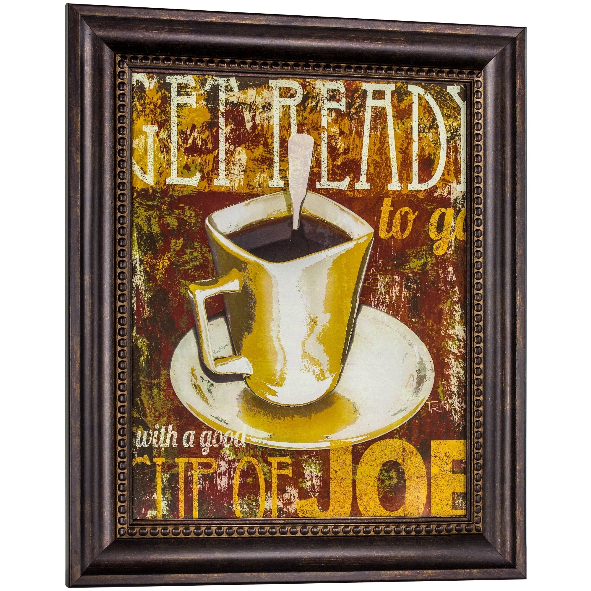 Shop American Art Decor Get Ready With A Good Cup Of Joe Framed Intended For Most Popular Cup Of Joe Wall Decor (Gallery 4 of 20)