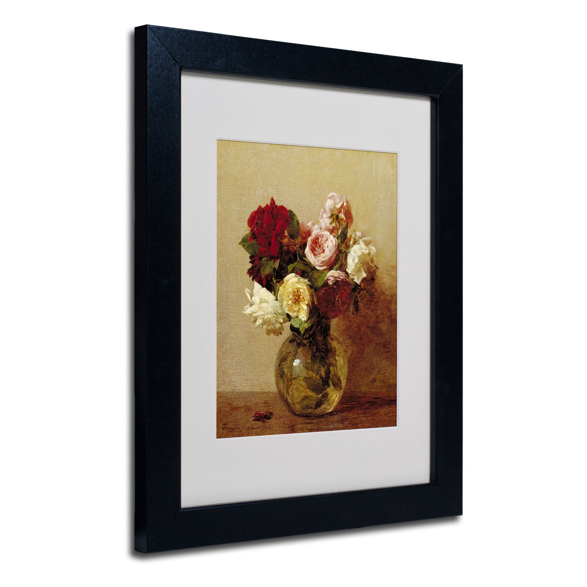 Shop Henri Fantin Latour 'roses 1884' White Matte, Black Framed Wall With Fashionable Latour Wall Decor (View 14 of 20)