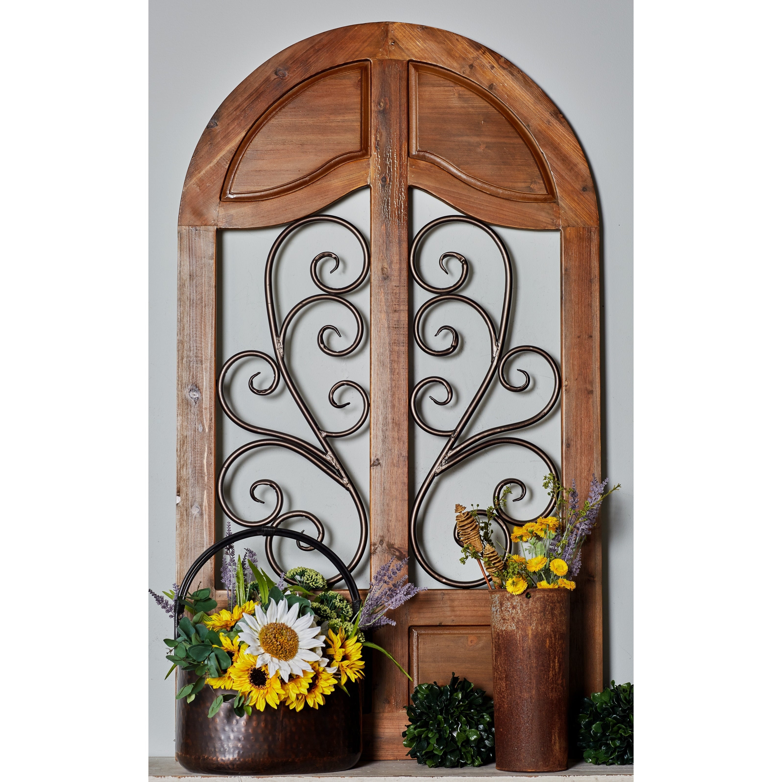 Shop Rustic 58 Inch Wood And Iron Cathedral Window Wall Decor Regarding Most Current Rings Wall Decor By Wrought Studio (View 14 of 20)