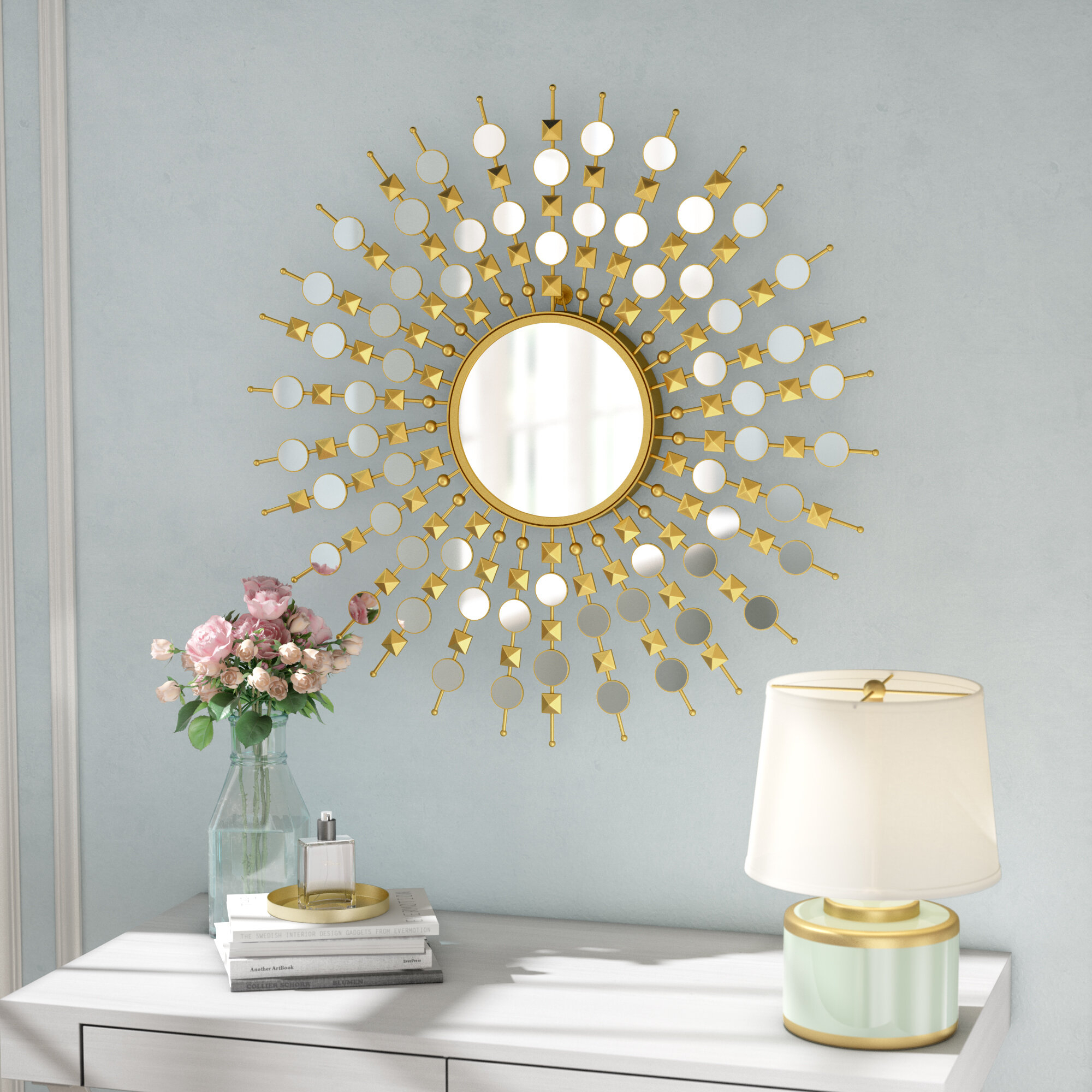 Starburst Wall Decor By Willa Arlo Interiors Throughout Well Known Willa Arlo Interiors Jamain Traditional Round Sunburst Frame Mirror (View 17 of 20)