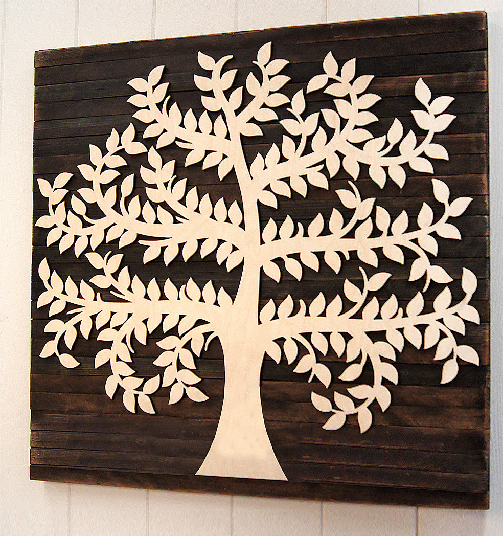 Tree Of Life Wall Decor By Red Barrel Studio With Most Up To Date Amonogramartunlimited Family Tree Mounted On Wooden Rustic Board (View 2 of 20)