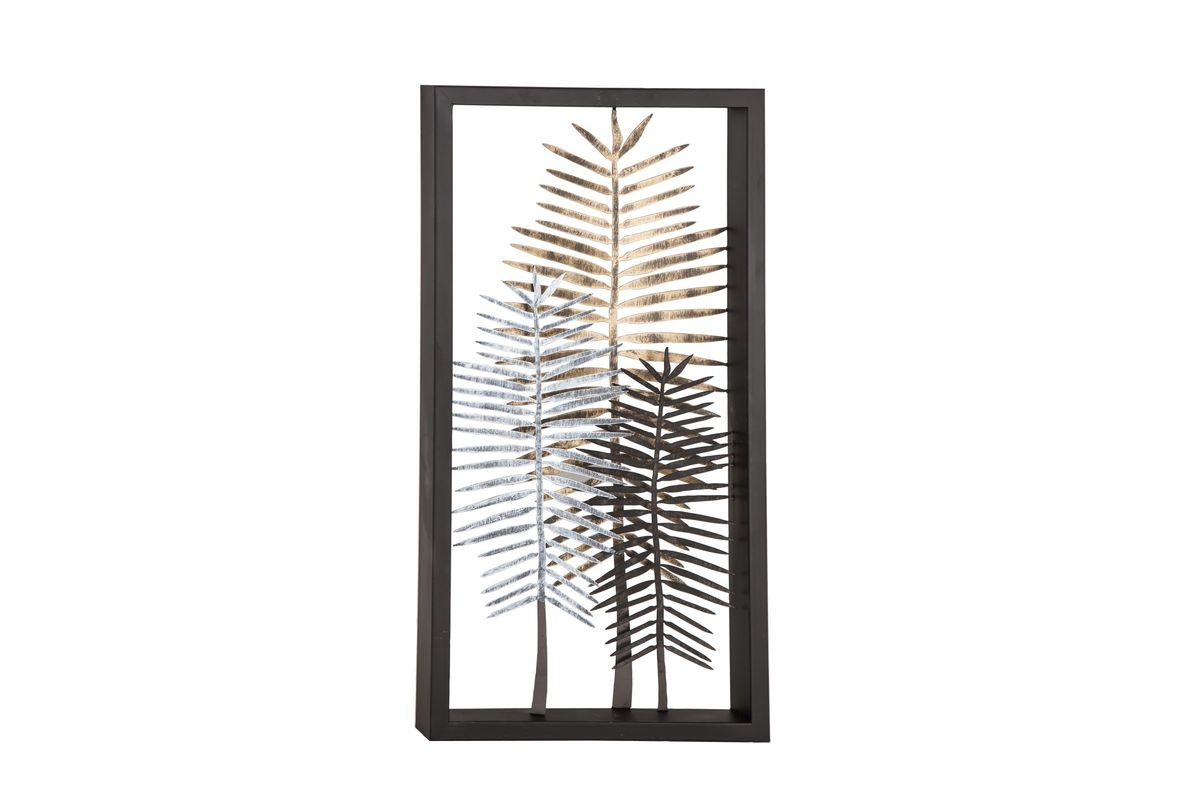 Tree Shell Leaves Sculpture Wall Decor Inside Most Up To Date Modern Iron Framed Leaves Wall Decor At Gardner White (View 15 of 20)