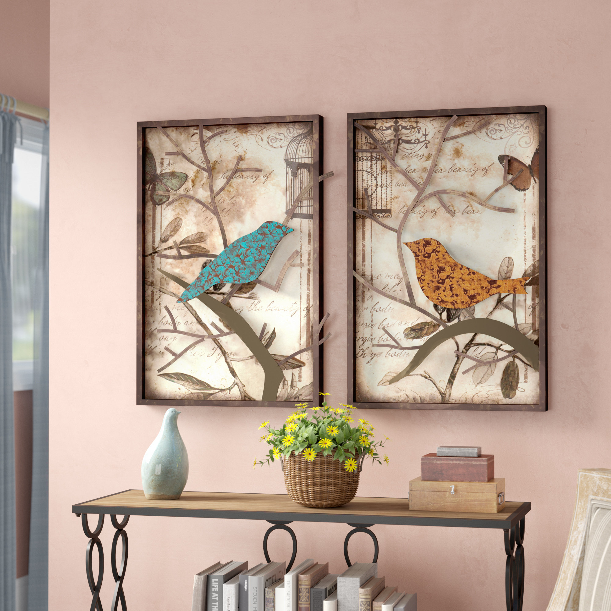 Trendy 4 Piece Wall Decor Sets By Charlton Home Regarding Lark Manor 2 Piece Vintage Bird Wall Décor Set & Reviews (View 13 of 20)