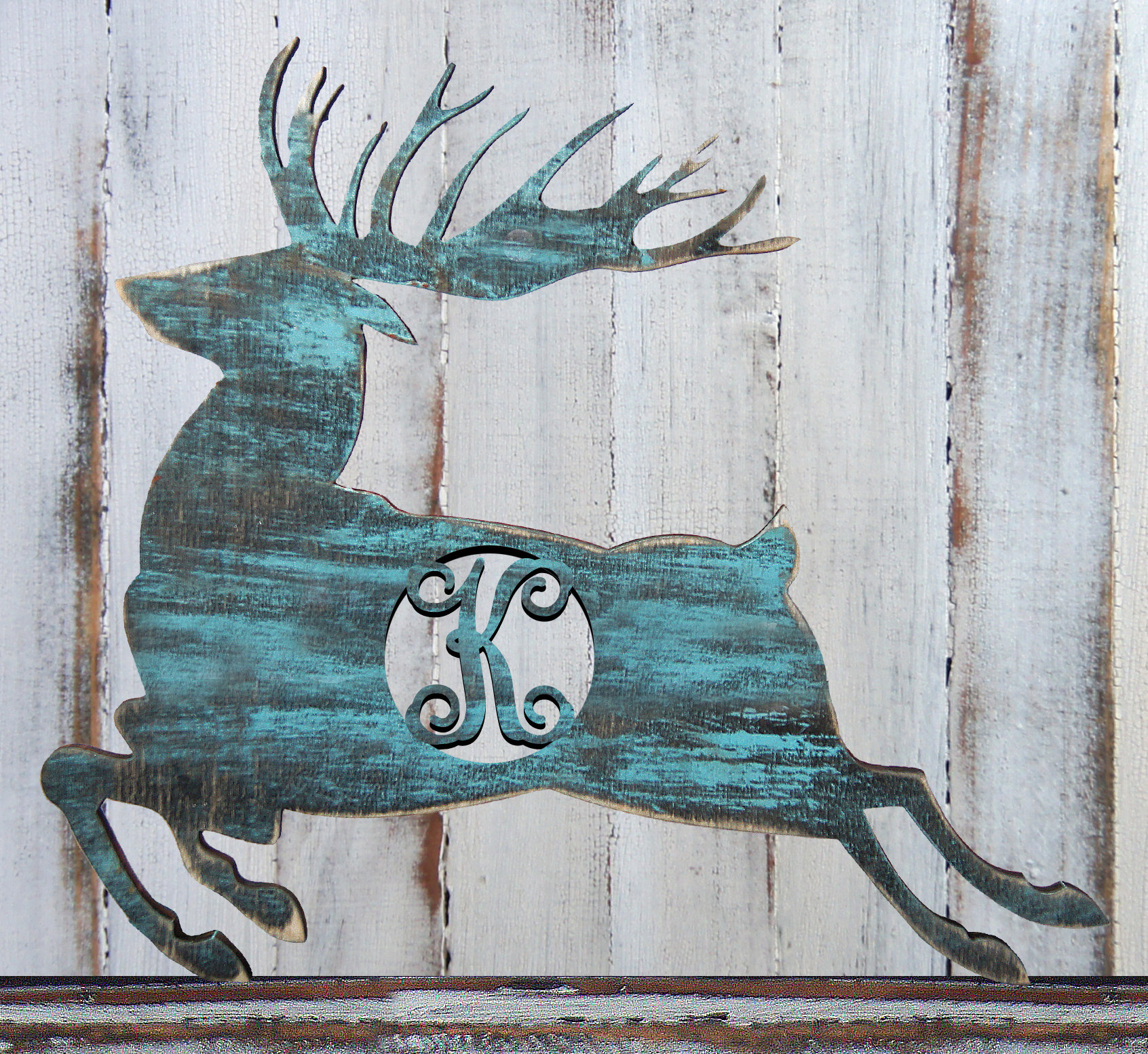 Trendy Amonogramartunlimited Deer Silhouette Rustic Single Letter Wooden Throughout Highlands Ranch The Templeton Wall Decor (Gallery 17 of 20)