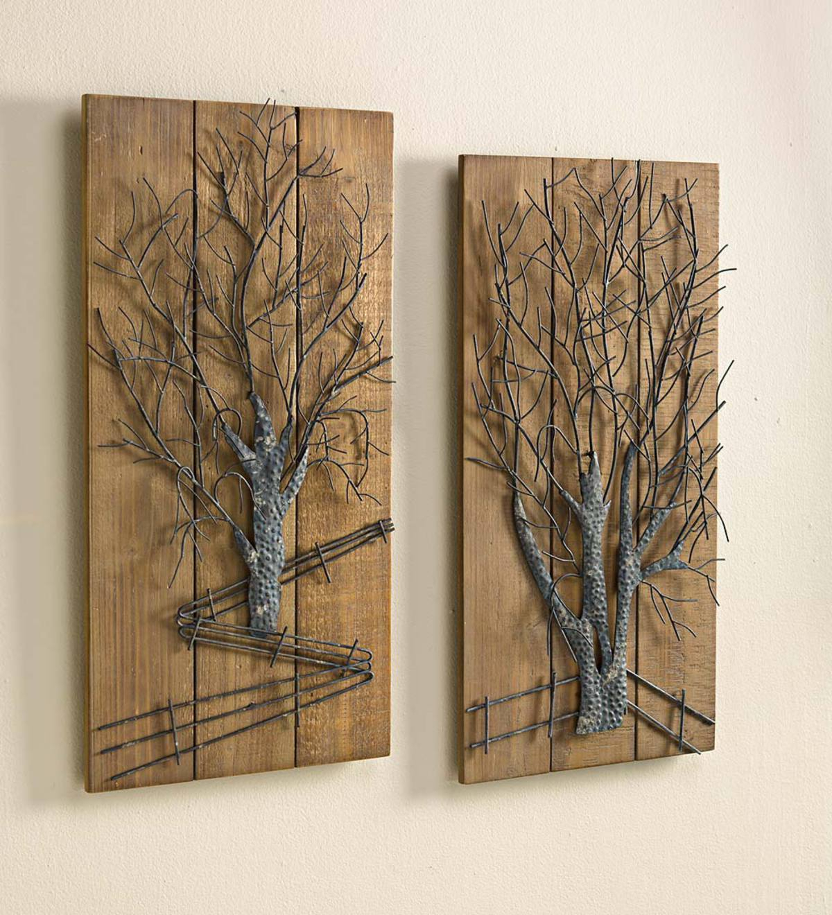 Trendy Metal Tree On Wooden Wall Art, Set Of  (View 15 of 20)