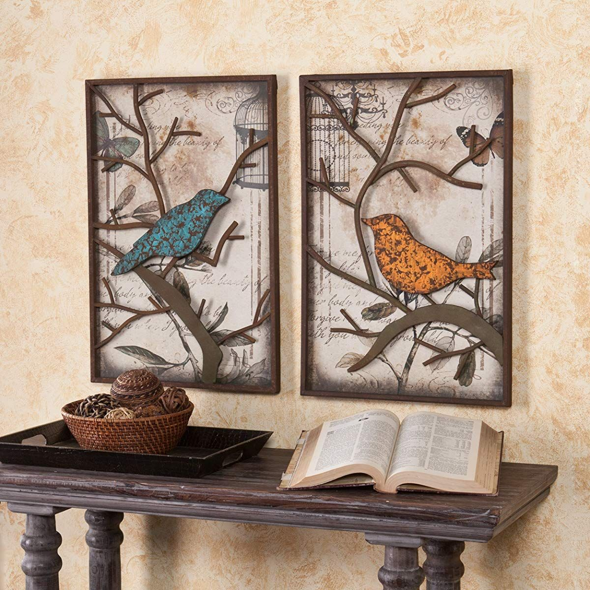 Trendy Panel Wood Wall Decor Sets (Set Of 2) Pertaining To Sei Cranston Vintage Bird Wall Panel, Set Of 2 (Gallery 11 of 20)
