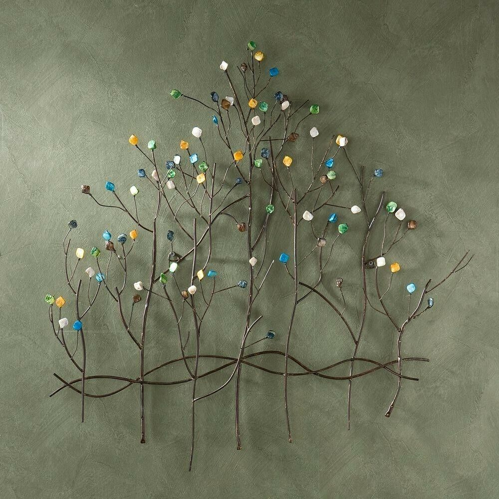 Trendy Tree Shell Leaves Sculpture Wall Decor Throughout Metal Tree Wall Sculpture Hanging Gem Stones Forest Wire Art Mural (View 14 of 20)