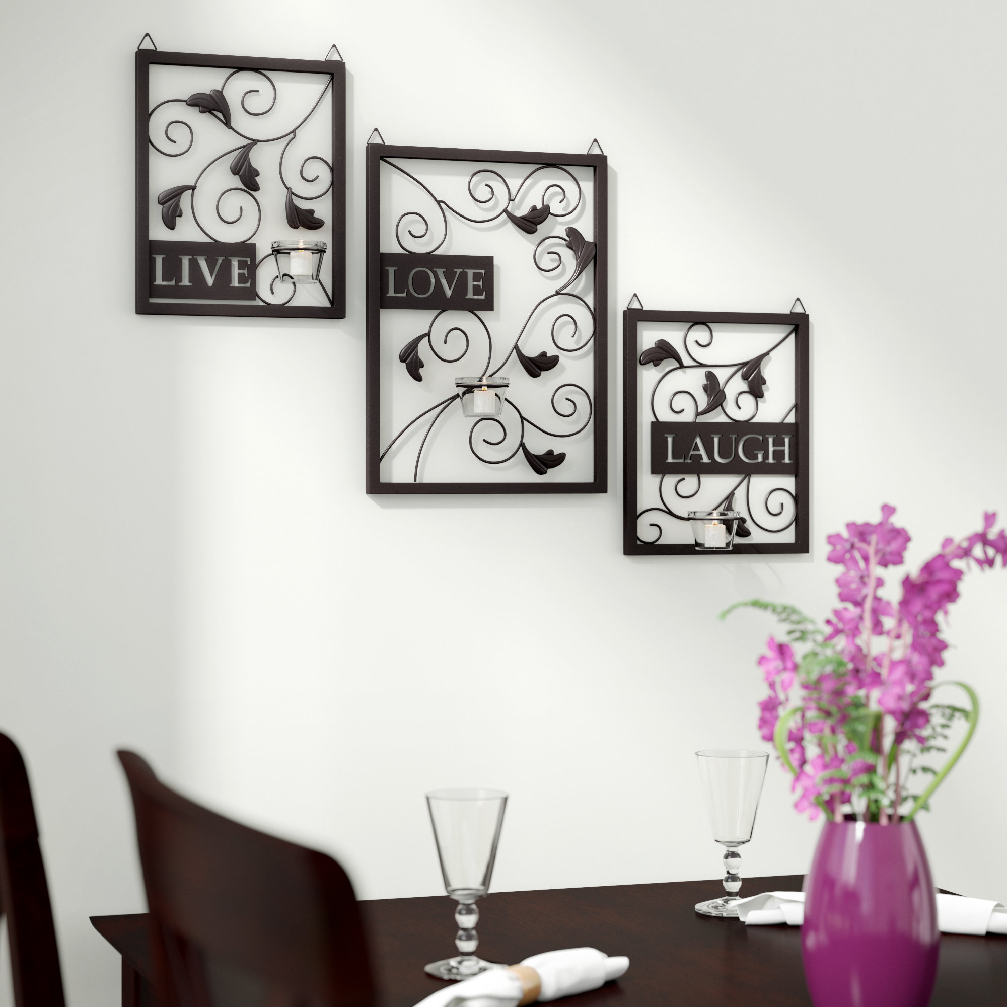 Trendy Winston Porter Live Love Laugh 3 Piece Black Wall Décor Set For Vase And Bowl Wall Decor By Alcott Hill (Gallery 8 of 20)
