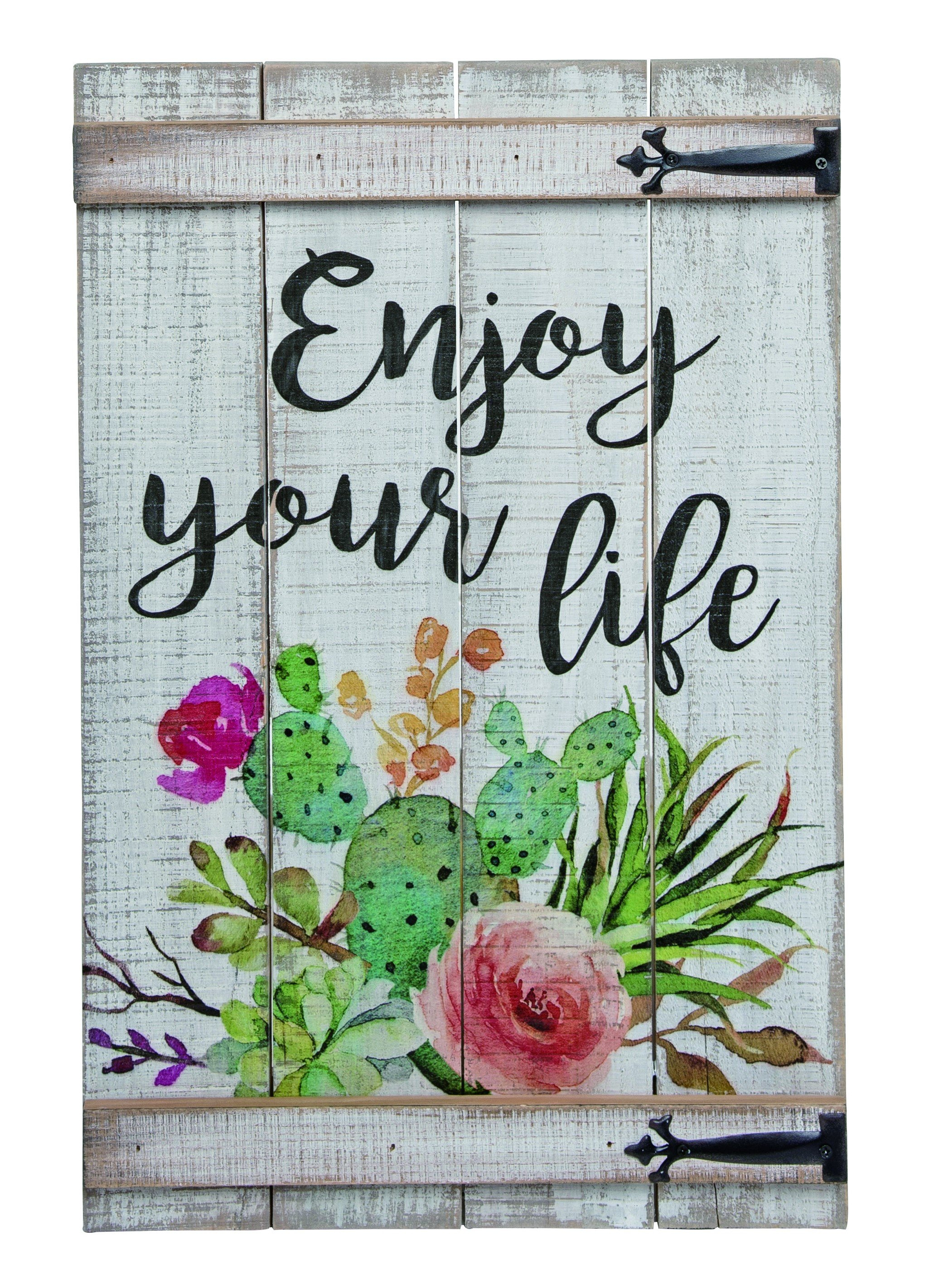 Tullia Wood Spring Enjoy Your Life Wall Décor Within Most Recently Released Personalized Mint Distressed Vintage Look Laundry Metal Sign Wall Decor (Gallery 7 of 20)