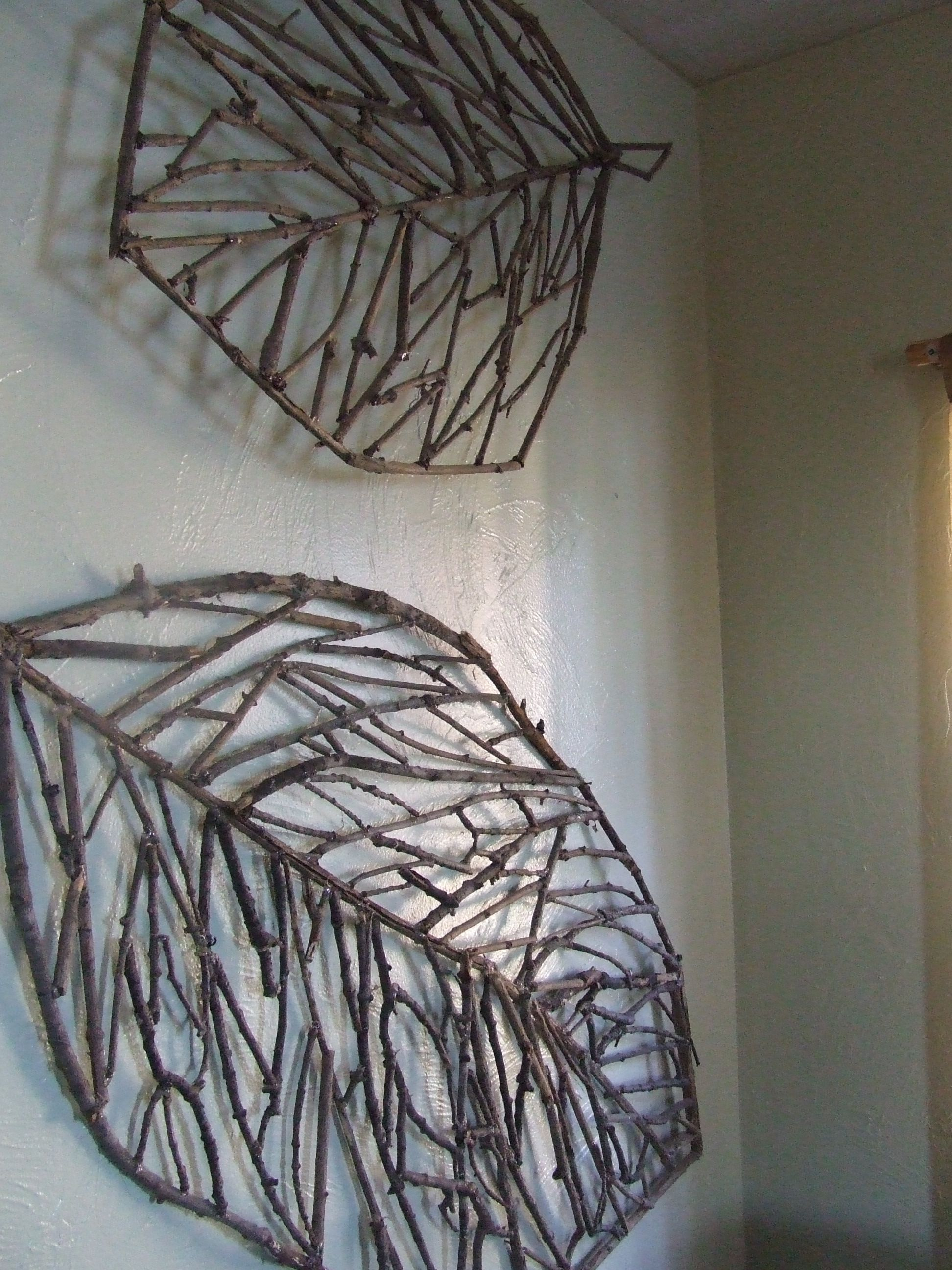 Twig Crafts With Tree Shell Leaves Sculpture Wall Decor (Gallery 11 of 20)
