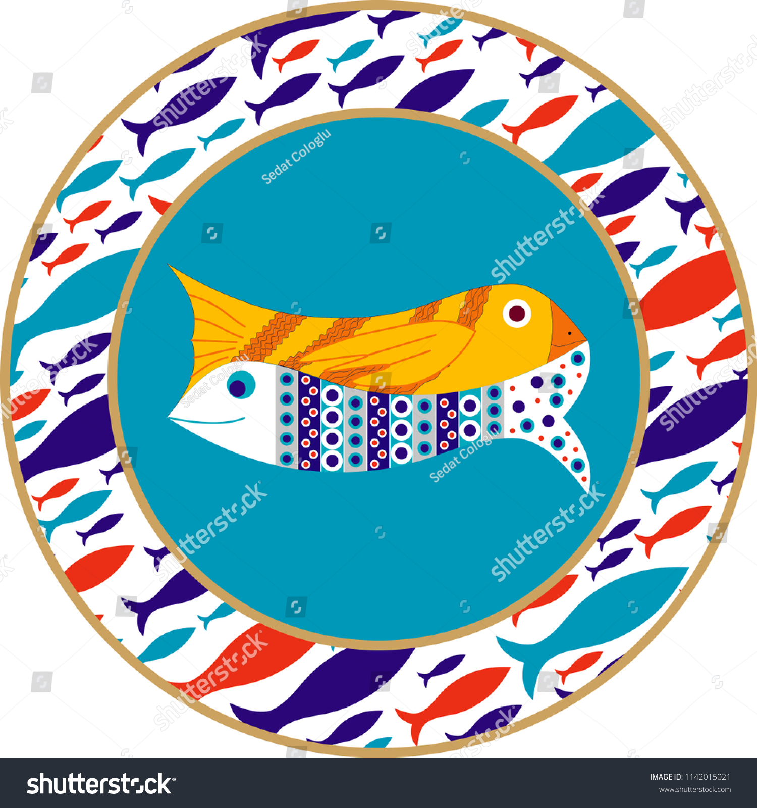 Vector Drawing Ceramic Plate Mostly Prepared Stock Vector (Royalty Inside Most Recent Ceramic Blue Fish Plate Wall Decor (Gallery 13 of 20)