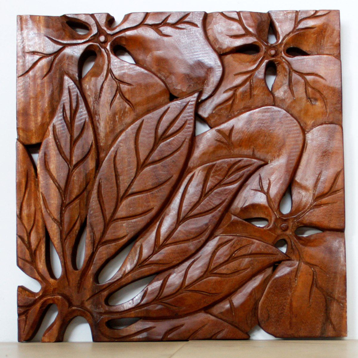 Wall Decor Leaf Panel Set Carved Wood (View 5 of 20)