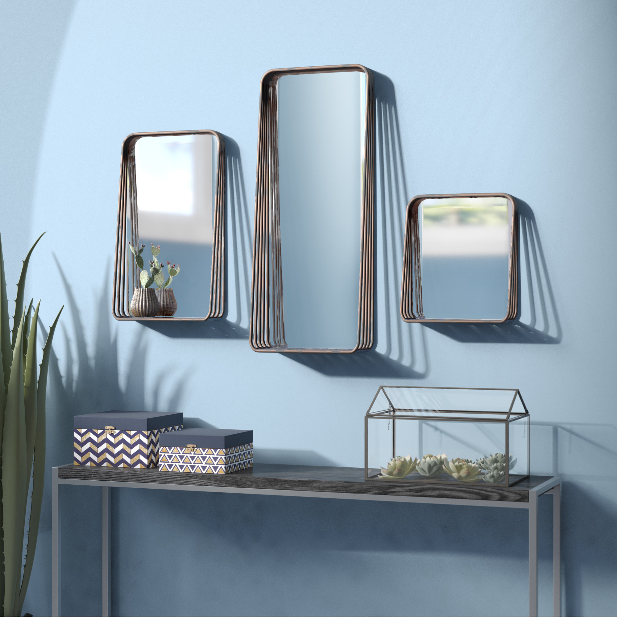 Well Known 3 Piece Wall Decor Sets By Wrought Studio Within Wrought Studio Eide 3 Piece Tall Metal Framed Mirror Set & Reviews (View 18 of 20)