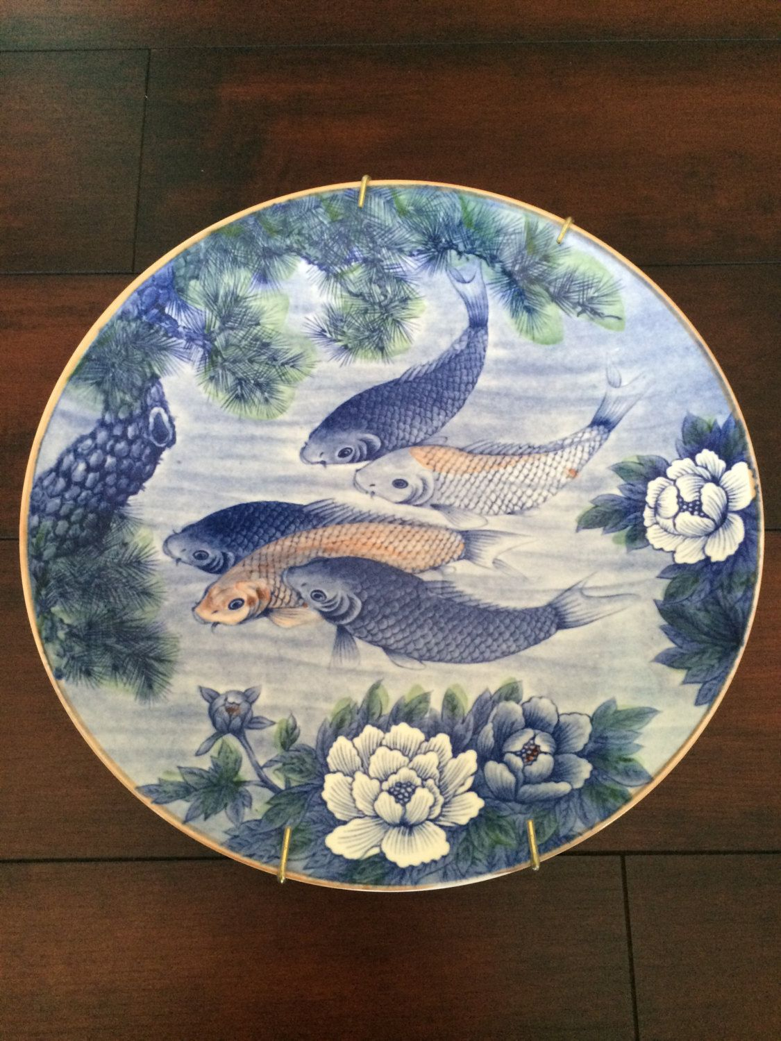 Well Known Ceramic Blue Fish Plate Wall Decor Throughout Koi Dish Platter, Sun Ceramics, Large Platter Made In Japan, 1960's (View 3 of 20)