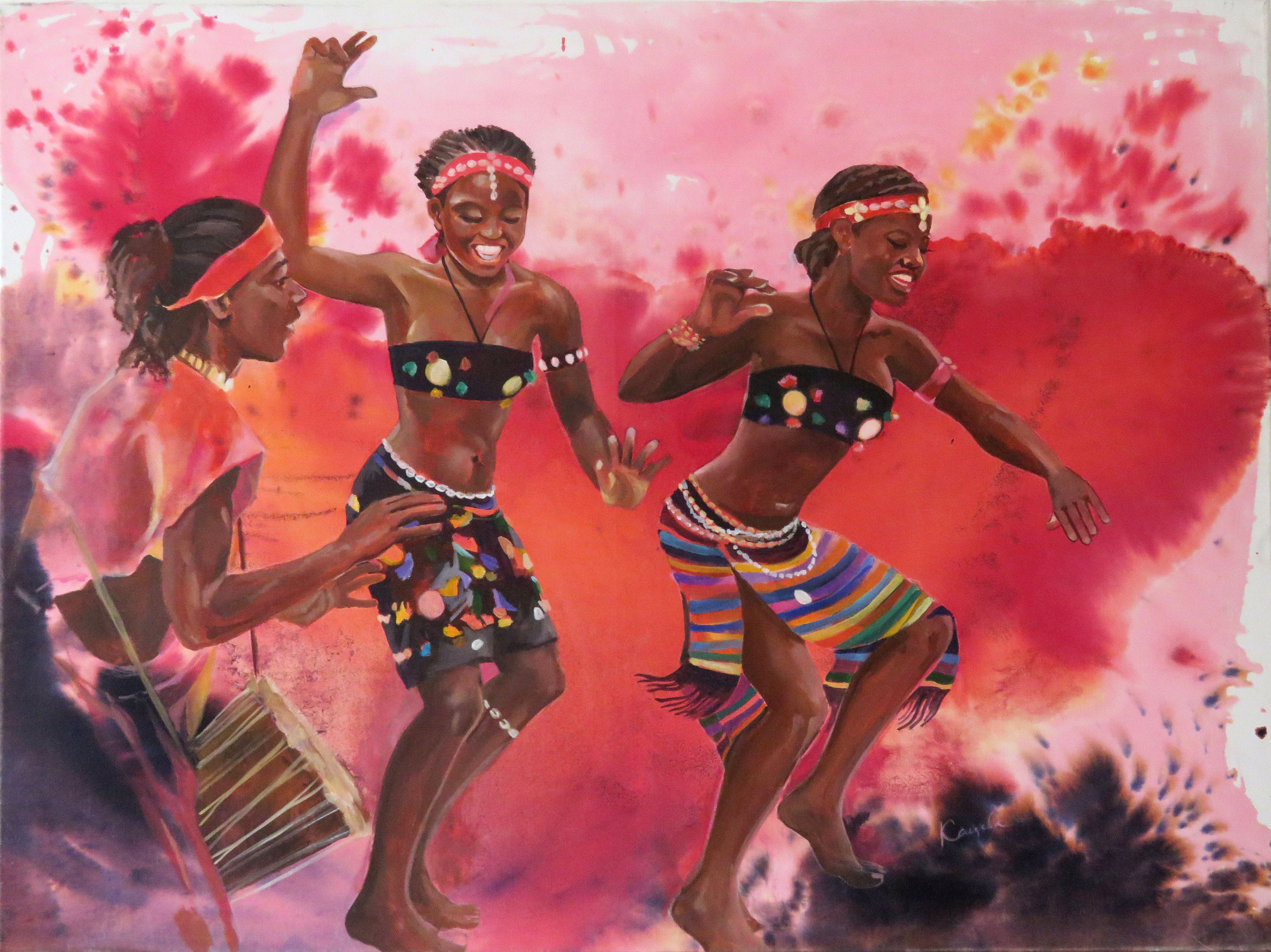Well Known Dance Of Desire Wall Decor Intended For African Dancers Acrylic Painting On Canvas Mixed Media: Ink (View 19 of 20)