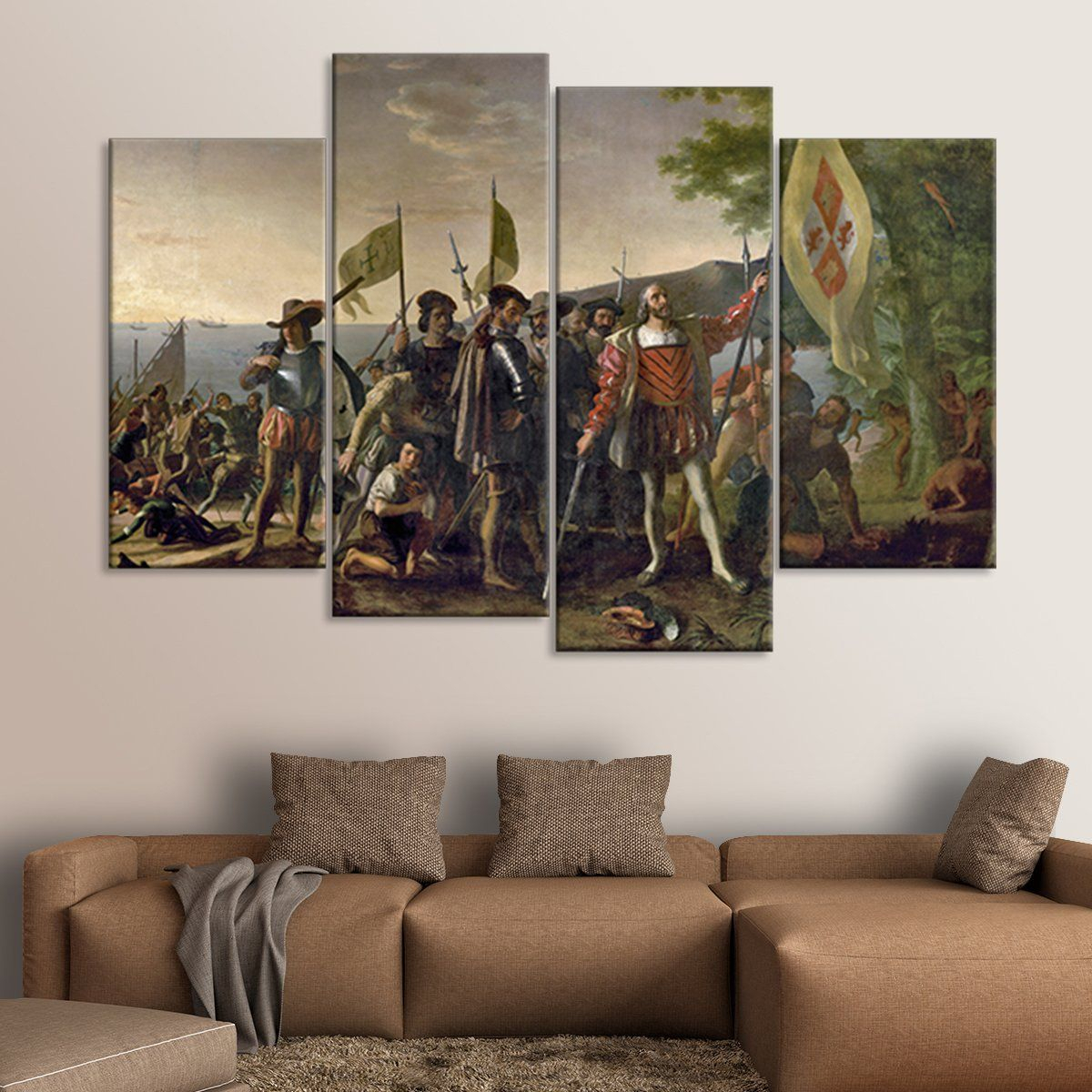 Well Known Landing Art Wall Decor In Landing Of Christopher Columbus Multi Panel Canvas Wall Art In (View 18 of 20)